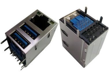 2x USB3.0 결합 잭 RJ45 기가비트 이더네트 LPJU1608AHNL 방패/LEDs G-Y